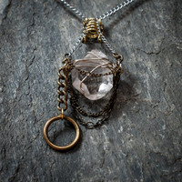 Seraph of the Wind, Arkansas Quartz Crystal Necklace,Pure Light Energy Pendant