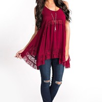 Randy Lace Top (Burgundy)