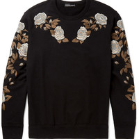 Alexander McQueen - Floral-Embroidered Loopback Cotton-Jersey Sweatshirt