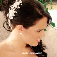 Bridal headpiece Wedding hair comb Flower headpiece - Vivian Feiler Designs | Wedding Jewelry |