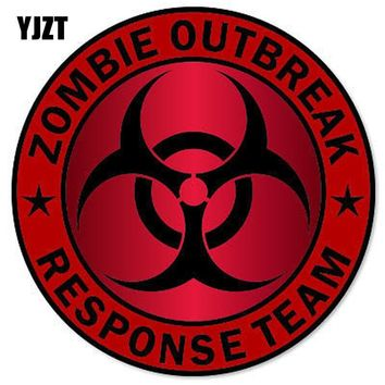 YJZT 14x14cm ZOMBIE Outbreak Response Team Red Bloody Motorcycle Personality Retro-reflective Car Stickers C1-8070