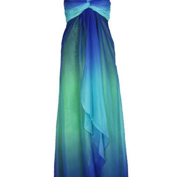 Green and Blue Halter Maxi Dress with Diamond
