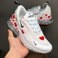 Nike Air Max 270 White Black Red Love Heart Shape Running Shoes - Best Deal Online