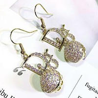 DIOR Fashion New Letter More Diamond Long Earring Accessories Women Golden
