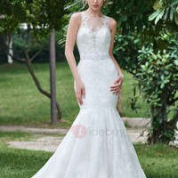 Stylish Scoop Neck Beaded Lace Mermaid Wedding Dress