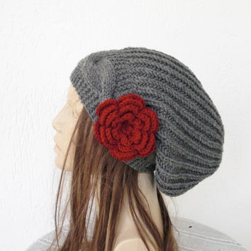 Knitted Hat - Slouchy Beanie - Womens hat - Slouch Hat with Flower Hand Knit Hat Charcoal Gray Beanie- Cable Knit Beanie