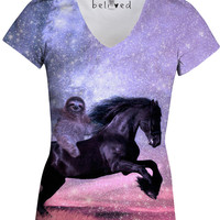 Majestic Sloth Women's V-Neck Tee