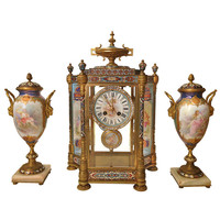 Gorgeous Assembled French Champleve Enameled Clock Set 19th Century, Signed Tiffany