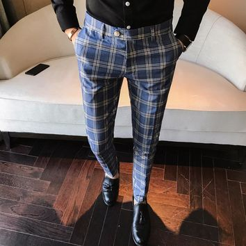 Mens Plaid Pants Blue Formal Trousers British StyleTrousers