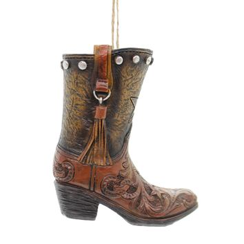 Holiday Ornaments COWBOY BOOT Polyresin Studs Tassel Stars 9733629 Brown