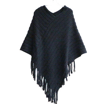 Autumn Clothes Shawl Scarf Sweater Women Cardigan Cape Coat Fringe Poncho Oblique Stripe Coat Bohemian