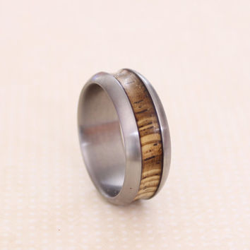 Titanium band ring zebrano wood and titanium wedding ring