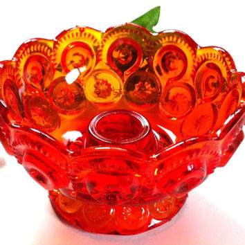 Red Carnival Glass Candle Holder , Taper Candle Holder , Vintage Home Decor, Red Yellow Glass , Bubble Glass, Sunset Heirloom