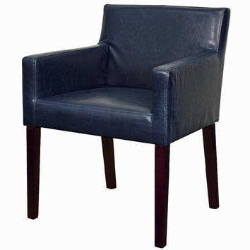 Griffin Bonded Leather Arm Chair Brown Legs, Vintage Blue