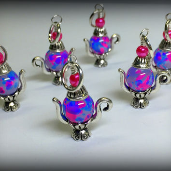 6 Spotted Teapot Stitch Markers- Gift for Knitters