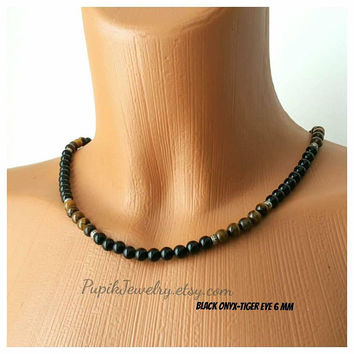 BEADED NECKLACE Black Onyx-Tiger Eye Necklace Women Men's Jewelry Custom Jewelry Long Necklace Tiger Eye Necklace Onyx Necklace