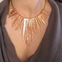 Copper Necklace - Athena Rough Edge - fringe necklace - small dimension