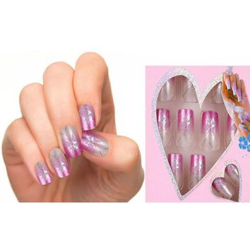 JQ Design Fake Nails French  False Nails  Beautiful Nail Tips For Nail Art  Fashion Fingernail Free Glue 24pcs Pre