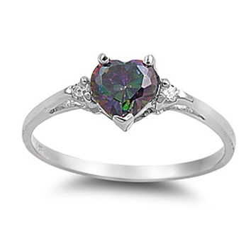 0.50CT Mystic Rainbow Topaz Diamond CZ Heart Shape Round 925 Sterling Silver Promise Ring Love Valentines Gift Wedding Engagement Ring