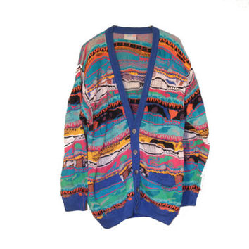 RARE Rainbow COOGI Cardigan Sweater 80s Extra Bright COSBY Mercerised Cotton Size Large
