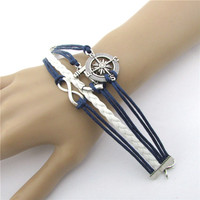 Women's Love Anchor Compass Leather Charm Bracelet Bangle Plated Silver