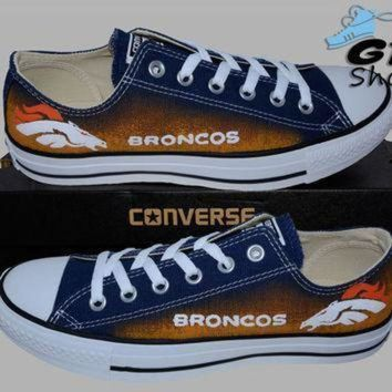 ICIKGQ8 hand painted converse low denver broncos football colorado superbowl handpainted
