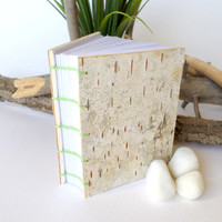 Birch bark journal with coptic stithced binding, handmade birch bark hardcover notebook ,handbound birch journal with 240 blank pages