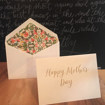 Mother's Day Card, Mothers Day, Calligraphy card, Calligraphy, gifts for mom, mommy and me, mothers day gift, unique card, Handmade card