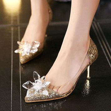 2017 Cinderella Shoes Adults Movie Low Heels Pumps Women Wedding Shoes Thin Heel Rhinestone Butterfly Crystal Dress Shoes 35-39