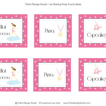 Ice Skating Food Labels/Tents: INSTANT DOWNLOAD