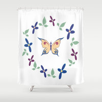 Floral Butterfly Shower Curtain by sm0w