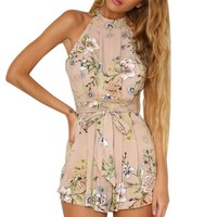 Off Shoulder Boho Floral Sleeveless Sexy Jumpsuit Women Sashes Beach Party Playsuit Short Romper Overalls