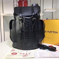 LV Louis Vuitton x supreme Men & Women large Leather Backpack 2019 New Fashion RED