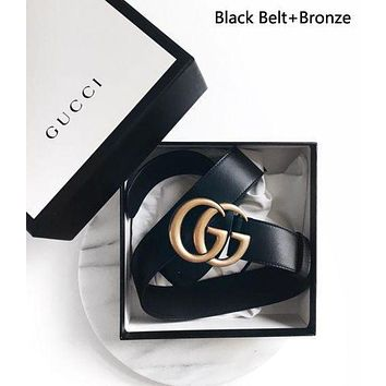 GUCCI high quality Woman Men Fashion Smooth Buckle Belt Leather Belt + Gift Box