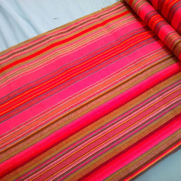 2 Yards Handwoven Thai Hilltribe Striped Fabric 204 / Hmong Ethnic Cotton Textile Rainbow Pink