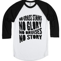 No Grass Stains No Glory-Unisex White/Black T-Shirt