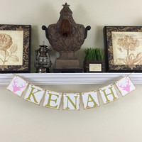 Personalized Name Banner, Baby Shower Decor, Kids Wall Art, Rustic Baby Name Decor, Nursery Room Decor