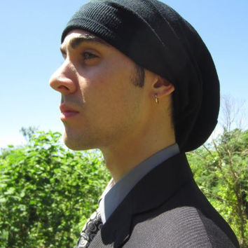 Mens Black Merino Wool Slouchy Beanie Hat Merino Wool Long Slouch Back  Knit A1195