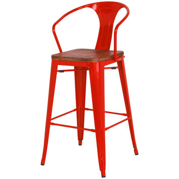 Grand Metal Counter Chair- Set of 4 RED