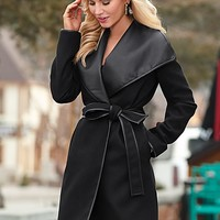 BLACK Faux leather wrap coat from VENUS