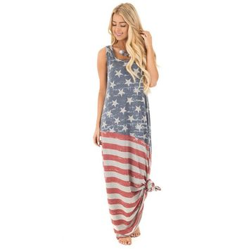 RWL BOUTIQUE American Flag Print Large Hem Floor-length Maxi Long Dress Women Summer Sleeveless Dress