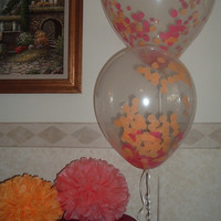 1 Set of 3 Clear balloons filled w/ confetti and Garlands