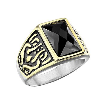 Maverick - Men's Gold PVD Stainless Steel Statement Ring with Onyx Stone