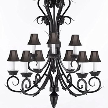 "Wrought Iron Chandelier Lighting Chandeliers With Black Shades H 30"" W 26"" 9 lights - A84-BLACKSHADES/724/6+3"