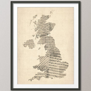 Great Britain UK Old Sheet Music Map, Art Print 18x24 inch (176)
