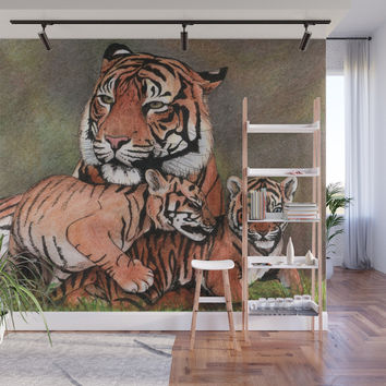 Family of tigers Wall Mural by savousepate