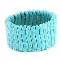 Turquoise Lines Stretch Bracelet Howlite Bangle BD32 Fashion Jewelry