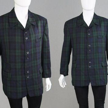Vintage 80s Mens Tartan Blazer Checked Blazer Plaid Blazer Sport Coat Mens X Large XL Jacket Mod Jacket Grunge Jacket Navy Blue & Green