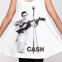 JOHNNY CASH T Shirt Dress Vintage Folk Country Shirts Women Tank Top White Tunic T-Shirt Sleeveless Vest Mini Dresses Size M L