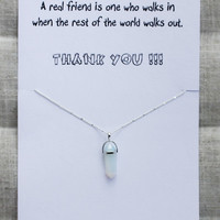 Thank You Gift Friend And Family Woman Pendant Stone Necklace